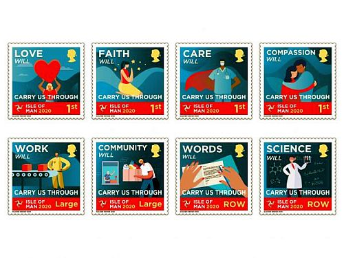 Corona-postzegels van het eiland Man