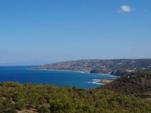 De kust van Rhodos