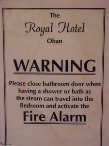 Schild im Hotel